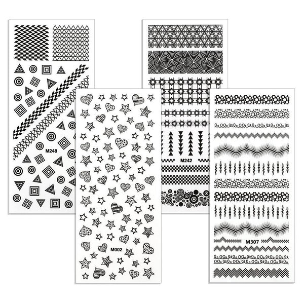 Bundle Monster - Shapies Rub-On Nail Decals - Set of 4 Sheets