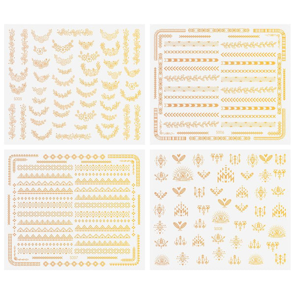 Maniology - Chic Peek: Gold Metallic Foil Nail Art Stickers - 4 Sheets