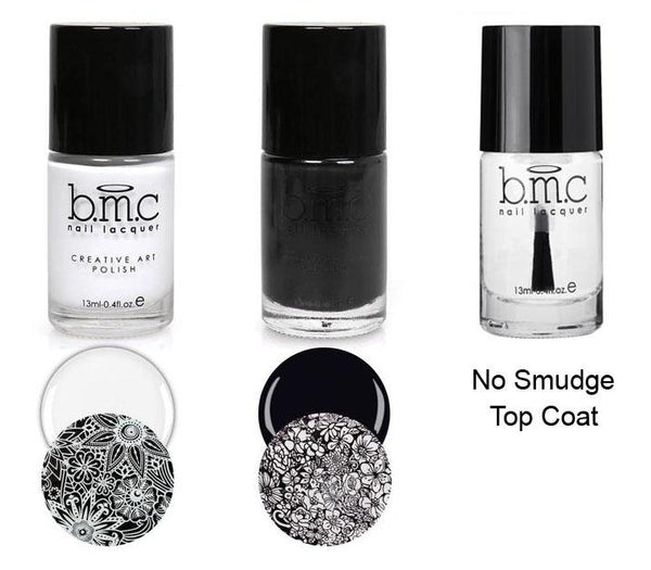 Maniology - Perfect Trio (White, Black Stamping Polish, No Smudge Top Coat)