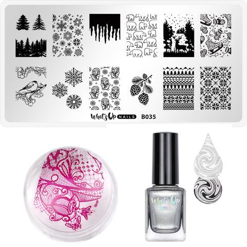 Whats Up Nails - Stamping Starter Kit (B035, Silver Ag-ent, Magnified Stamper)