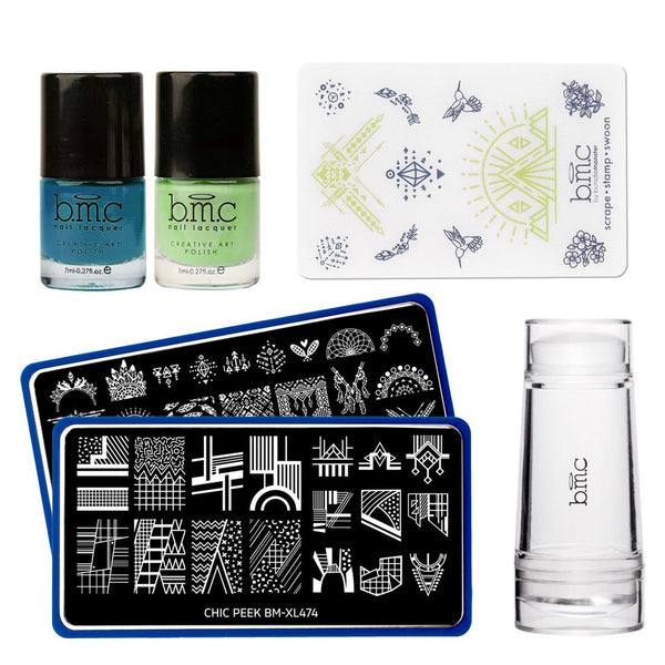 Bundle Monster - Chic Peek Nail Stamping Starter Kit: Plates, Polishes, Scraper, & Stamper