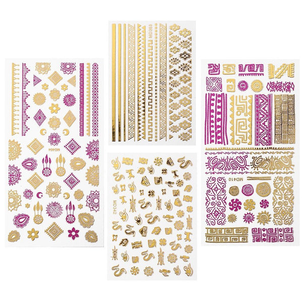Bundle Monster - Pink + Gold Tribal Themed Metallic Foil Nail Art Stickers - Set of 4 Sheets