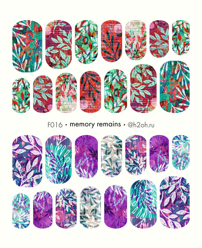 H2Oh! - F016 Memory Remains Water Decals
