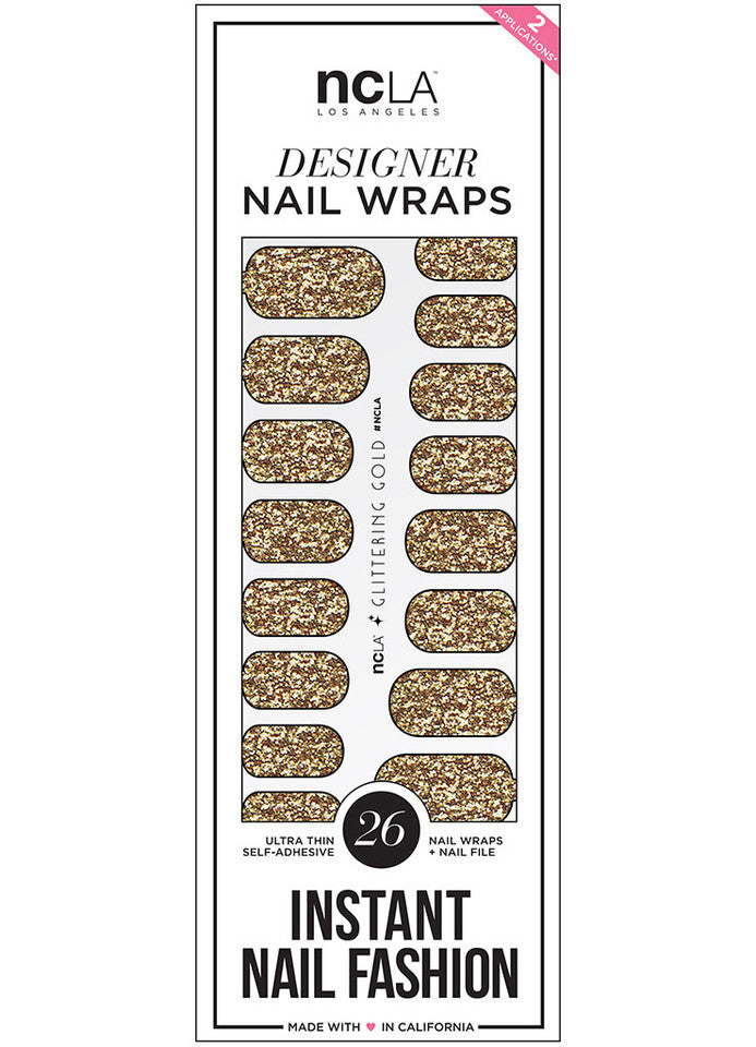NCLA - Glittering Gold Nail Wraps