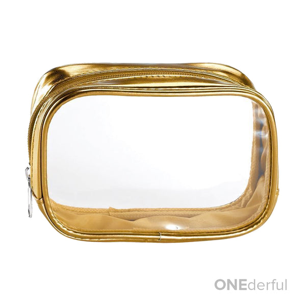 ONEderful - Clear with Metallic Gold Small Cosmetic Bag