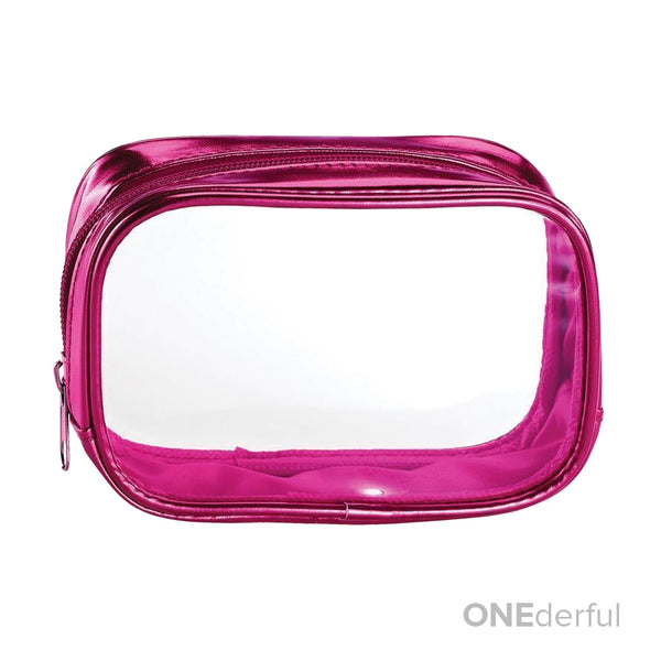 ONEderful - Clear with Metallic Pink Small Cosmetic Bag