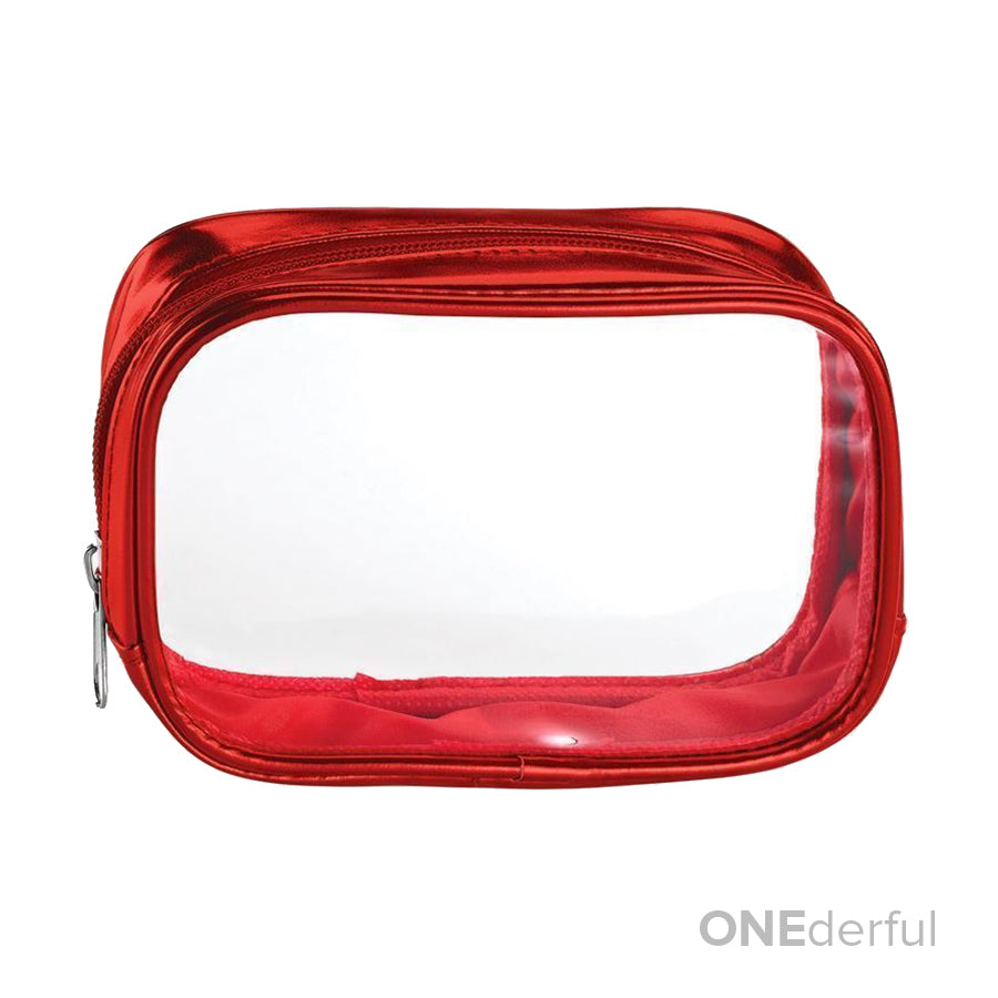 ONEderful - Clear with Metallic Red Small Cosmetic Bag