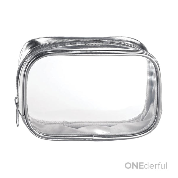 ONEderful - Clear with Metallic Silver Small Cosmetic Bag