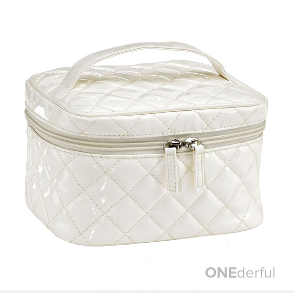 ONEderful - White Quilted Cosmetic Bag (Medium)