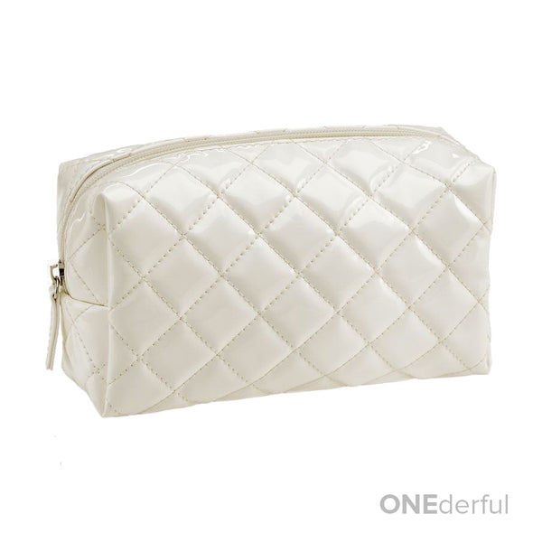ONEderful - White Quilted Cosmetic Bag (Small)