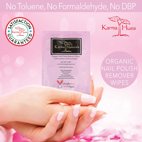 Karma Organic Spa - Nail Polish Remover Wipes with Soybean Oil and Lavender