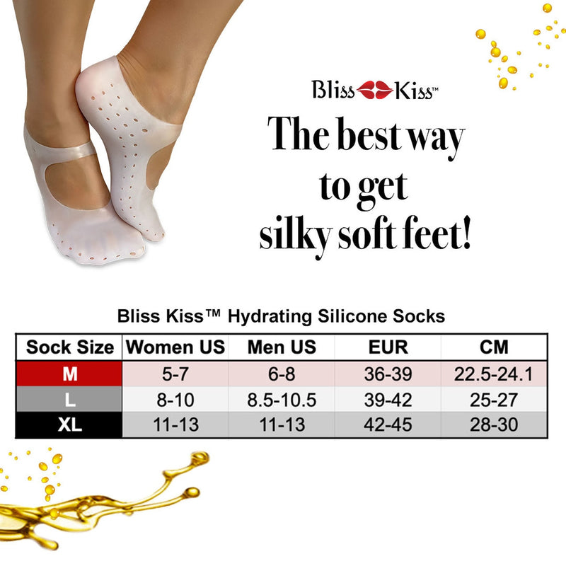 Bliss Kiss - Silicone Socks for Smoother Feet (Size M)