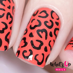 Whats Up Nails - Cheetah Hearts Stencils