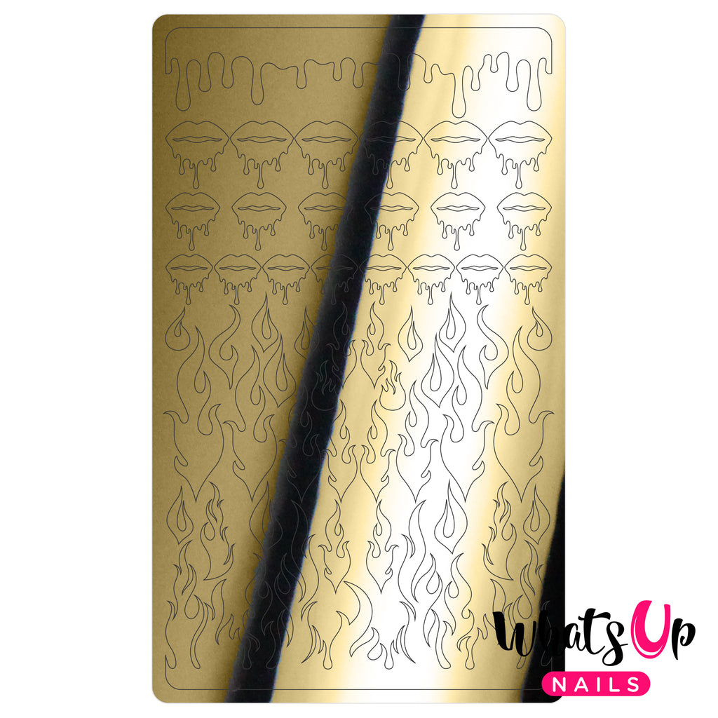 Whats Up Nails - Dripping Flames Stickers (Gold) - Daily Charme Collaboration