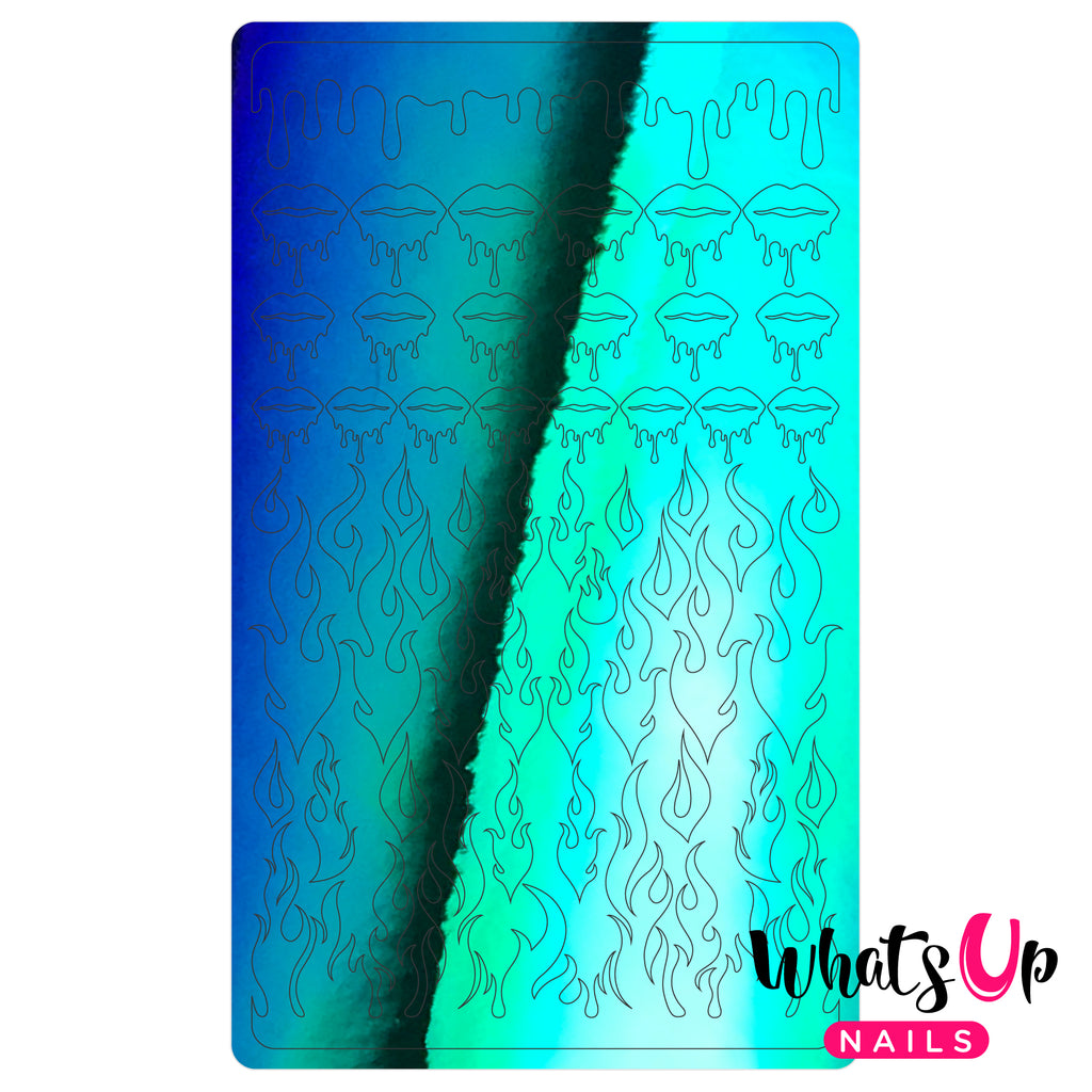 Whats Up Nails - Dripping Flames Stickers (Green) - Daily Charme Collaboration
