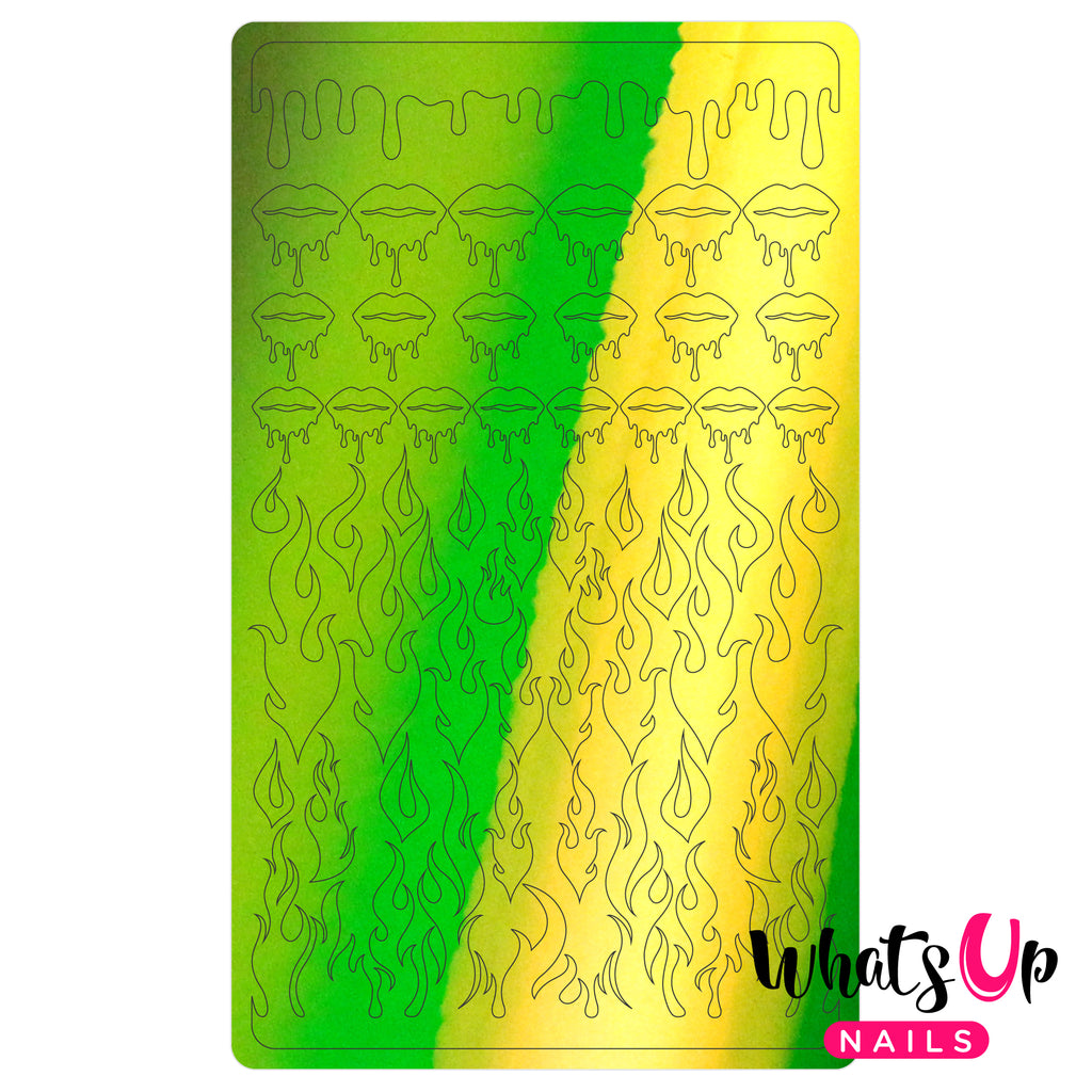 Whats Up Nails - Dripping Flames Stickers (Lime) - Daily Charme Collaboration