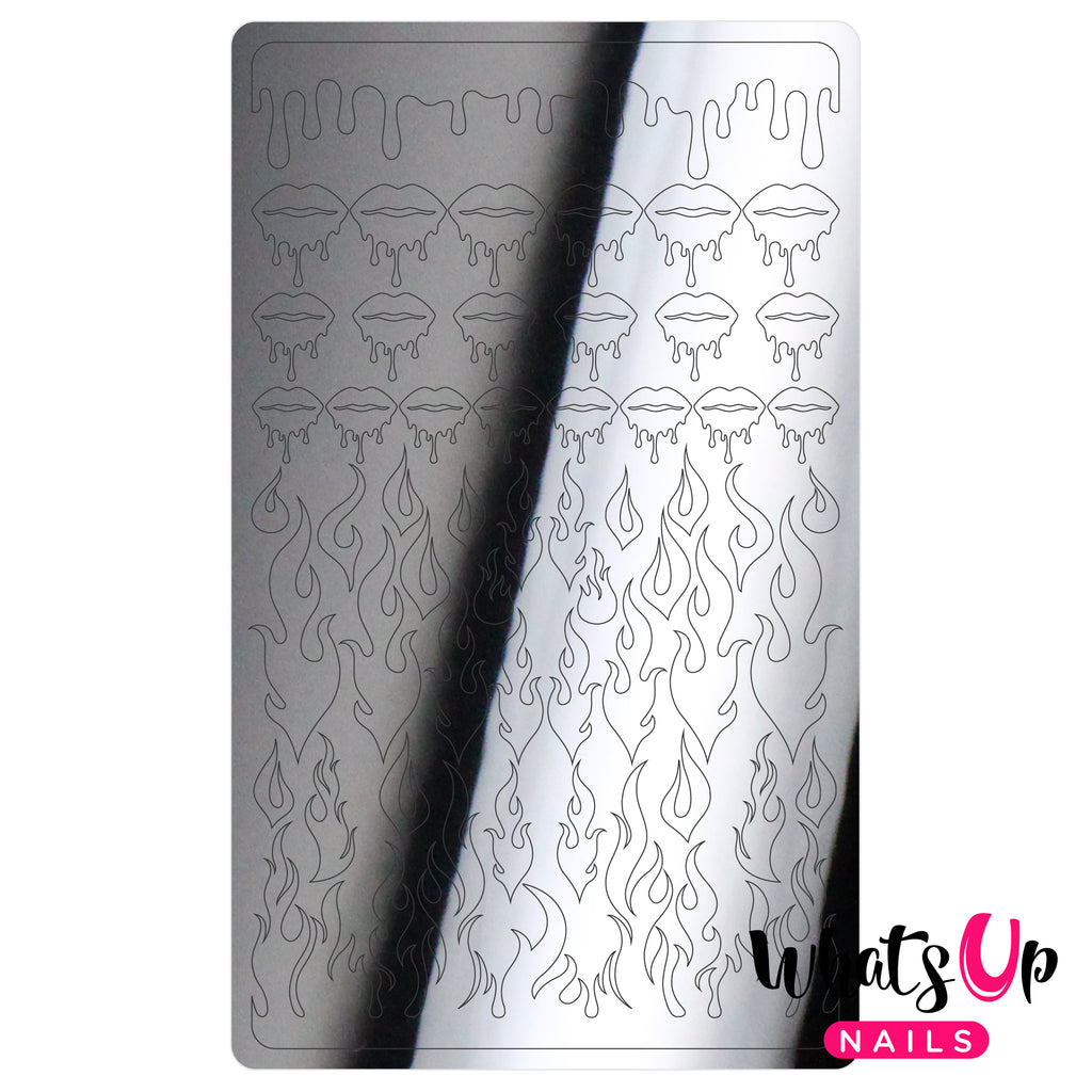 Whats Up Nails - Dripping Flames Stickers (Silver) - Daily Charme Collaboration