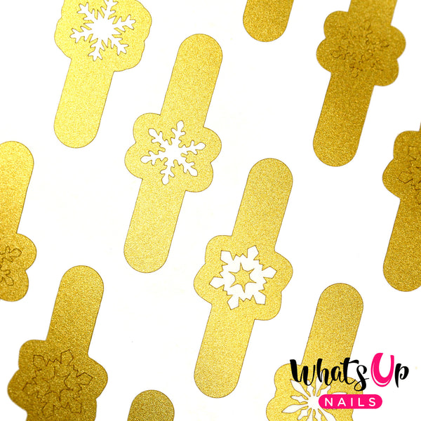 Whats Up Nails - Jolly Snowflakes Stickers & Stencils, Gold