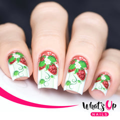 Whats Up Nails - P001 Strawberry Fancy, White Water Decals