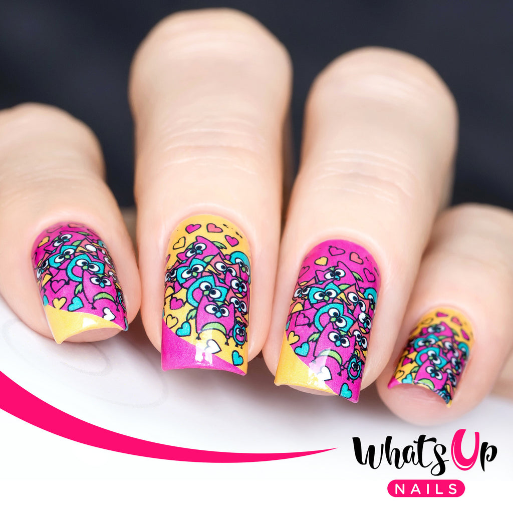 Whats Up Nails - P003 Hoot Do You Love, Pink Water Decals