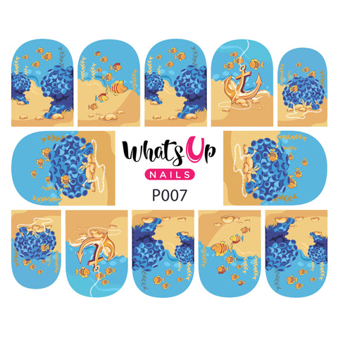 Whats Up Nails - P007 Fishin For Gold Water Decals