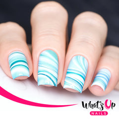 Whats Up Nails - P010 Marble Madness, Blue Water Decals