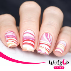 Whats Up Nails - P011 Marble Madness, Pink Water Decals