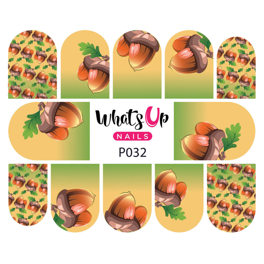 Whats Up Nails - P032 Feelin' Nutty Water Decals