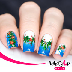 Whats Up Nails - P047 Poinsettia Garland Water Decals
