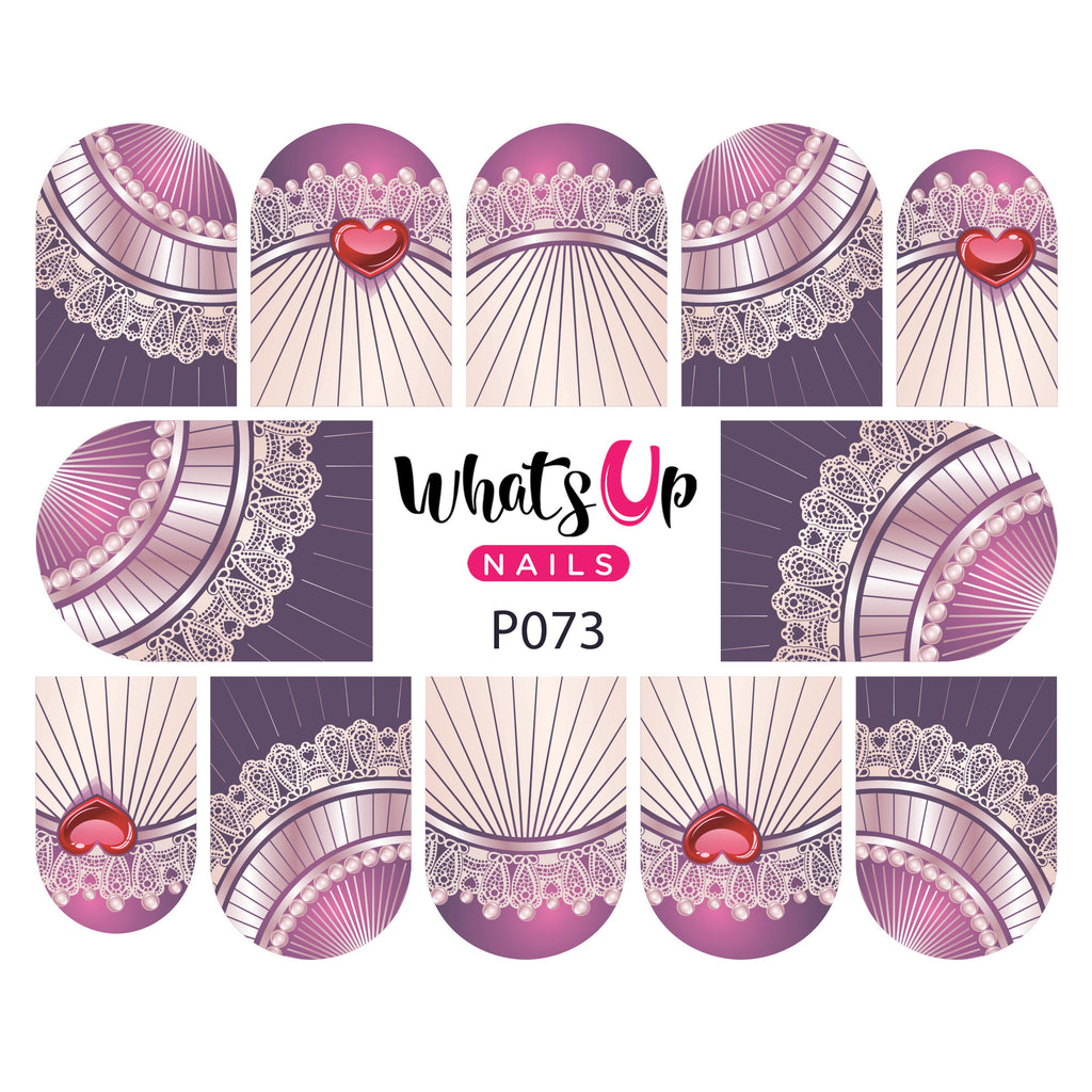 Whats Up Nails - P073 Lace Royalty Water Decals