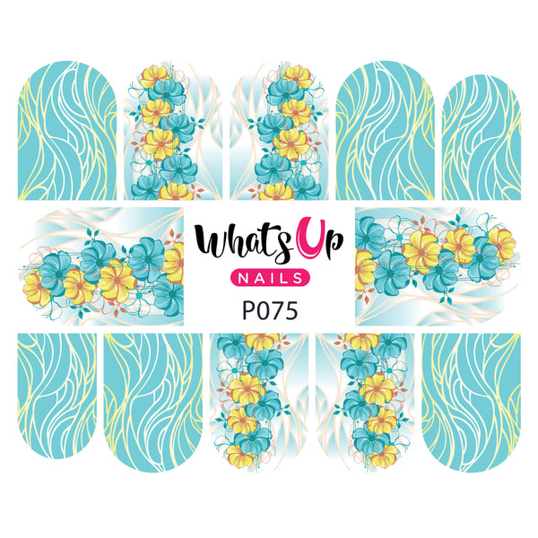 Whats Up Nails - P075 Floral Strands Water Decals