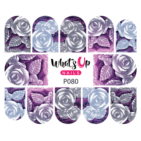 Whats Up Nails - P080 Edgy Roses Water Decals