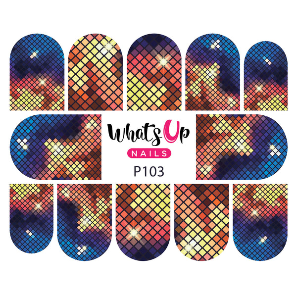 Whats Up Nails - P103 Pixelation Fascination Water Decals