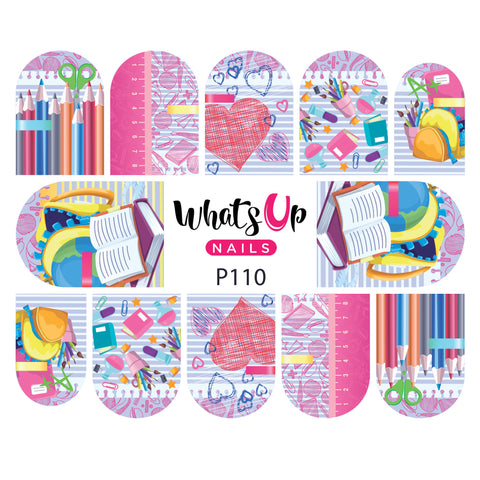 Whats Up Nails - P110 School Rules Water Decals