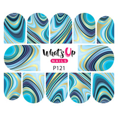 Whats Up Nails - P121 Marbled Like the Sea Water Decals