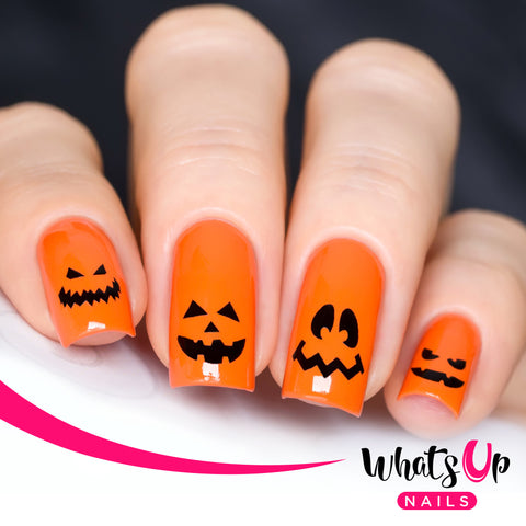 Whats Up Nails - Pumpkin Faces Stencils