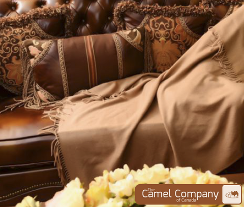 Luxury Camel Wool Throw Blanket