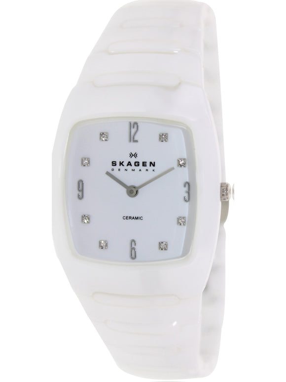 White Dial White Ceramic Ladies Watch
