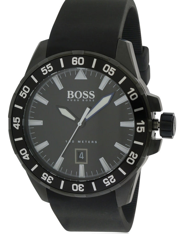 Hugo Boss Ocean Deep Black Silicone Watch 1513229 Mens Watches Hugo Boss