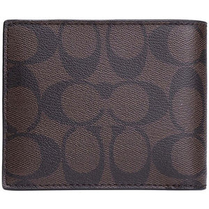 Compact Id Wallet In Signature (Coach F74993) Mahogany/Brown