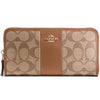 Accordion Zip Wallet In Signature Coated Canvas With Leather Stripe (Coach F54630)