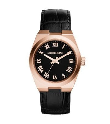 Michael Kors Channing Black Dial Rose Gold-Tone Unisex Watch Mk2358 Unisex Watches Michael Kors