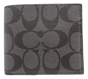 Double Billfold Wallet In Signature (Coach F75083) Charcoal/Black