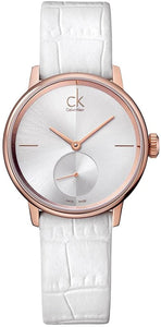Calvin Klein Accent Rose Gold PVD Leather Ladies Watch K2Y236K6