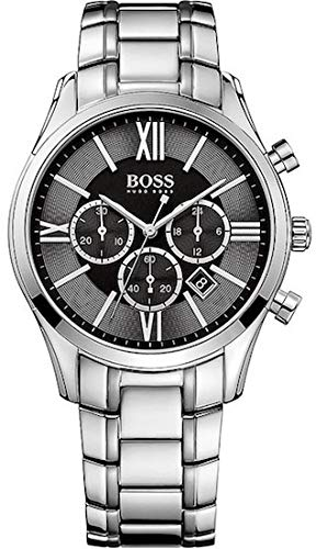 Hugo Boss Ambassador Chronograph Stainless Steel Mens Watch Black Dial Date 1513196 Mens Watches Hugo Boss