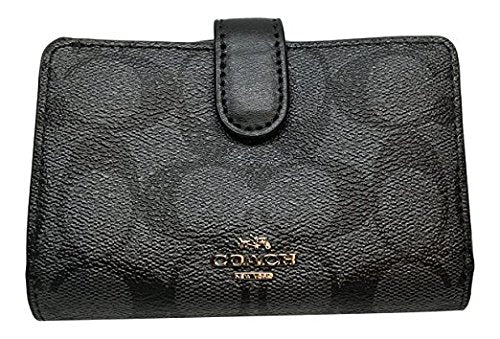 Coach Signature Pvc Medium Corner Zip Wallet Black Smoke Black F23553
