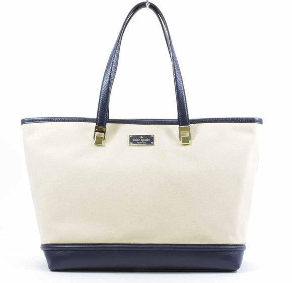 Kate Spade WKRU3780 New York Oliver Street Canvas Taren Shoulder Bag Tote (Natural/French Navy) Womens Handbags Kate Spade