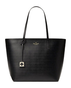 Kate Spade WKRU4297 New York Haven Street Maxi Black Leather Tote Bag Womens Handbags Kate Spade