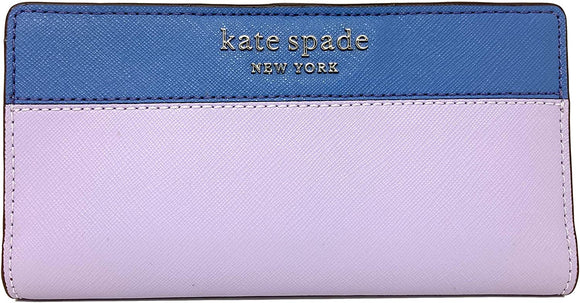 Kate Spade New York Cameron Slim Leather ID Bifold Wallet in French Navy Lilac Multi
