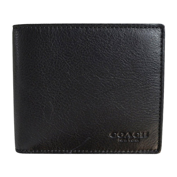 Compact Id Wallet In Sport Calf Leather (Coach F74991) Black